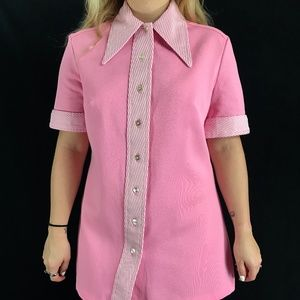 ❗️SOLD❗️70s Dagger Collar Pink Micro Mini/Top